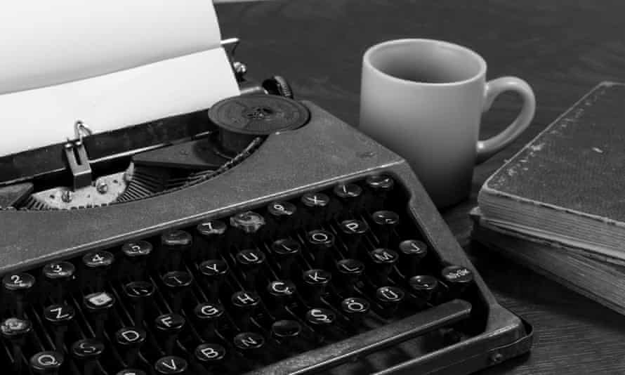 typewriter paper and coffee