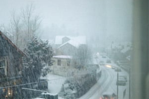 A snowy city.
