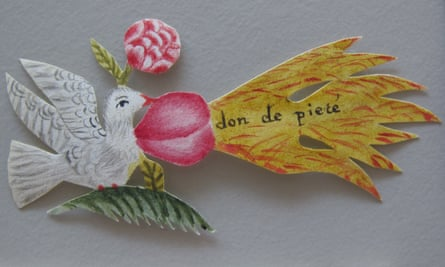 A paper dove included with one of the letters