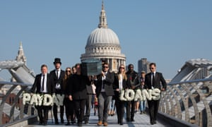 A funeral procession for payday loans near St Paul's Cathedral