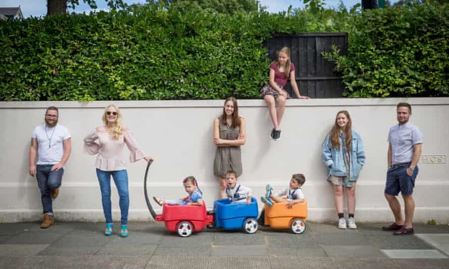 Danusia Malina-Derben with eight of her 10 children.