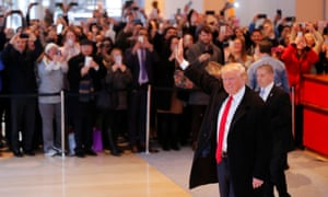Donald Trump in the lobby of the New York Times building on Tuesday.