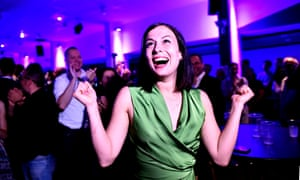 Katalin Cseh celebrates her victory at the Momentum's campaign headquarters.