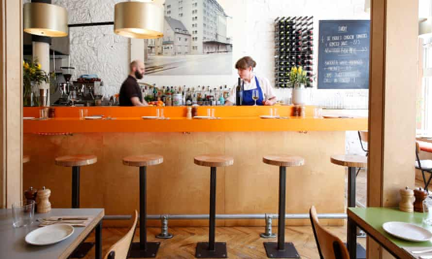 'There's a lot of laminate wood, and a fierce outbreak of orange along the bar': head chef Rosie Healey takes charge.
