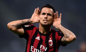 Suso celebrates after scoring against rivals Internazionale this season.