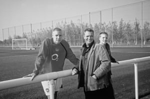 Bendtner with his father and younger brother Jannick at Arsenal's London Colney training ground in 2007.