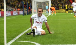 Harry Kane celebrates the first of his two goals against Borussia Dortmund on what could prove a pivotal night for Tottenham at Wembley.