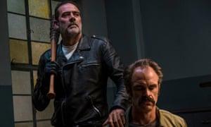 Jeffrey Dean Morgan as Negan and Steven Ogg as Simon.