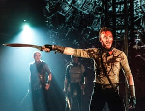 Fearless and ferocious … Hiddleston as Coriolanus.