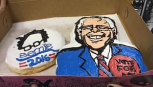 Portland's famous Voodoo Doughnut shop had a large doughnut made in Sanders' likeliness.