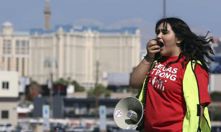 A Culinary Union volunteer in Las Vegas. The union is working to negotiate a new contract for workers.