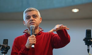 Sadiq Khan speaking at an event at City Hall last month