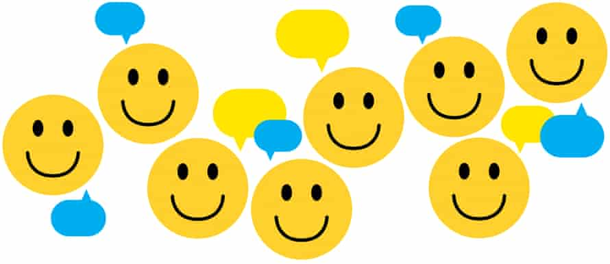 Smiley faces with speech bubbles