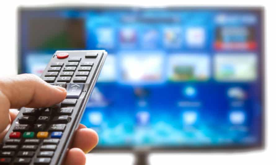 Remote control points towards a TV screen
