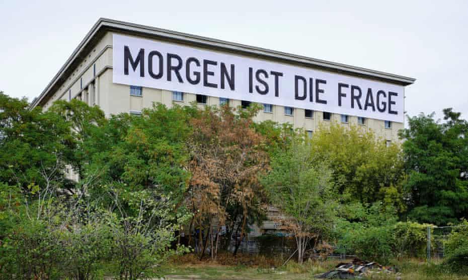 Rirkrit Tiravanija's banner on the side of Berghain.