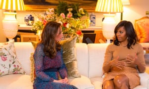 The Duchess of Cambridge with Michelle Obama, prior to a private dinner hosted by the Duke and Duchess in their official residence.