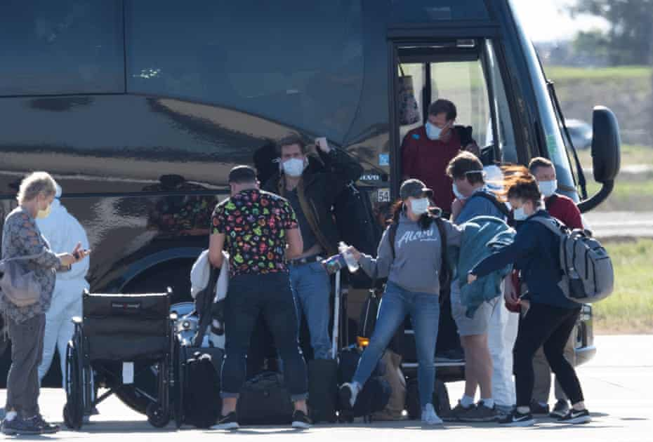 Grand Princess passengers were taken by bus to Travis air force base in Fairfield, California.