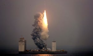 The Long March 11 rocket taking off from a mobile launch platform in the Yellow Sea off Shandong province.
