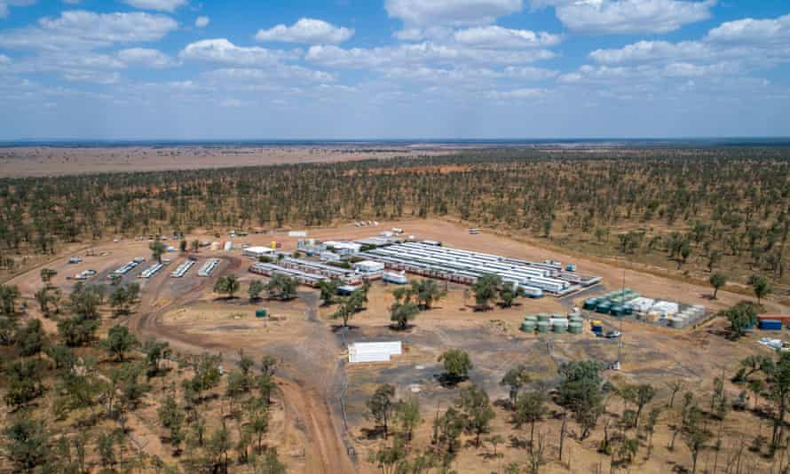 Aerial view of Adani mine site in Queensland