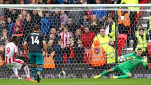 The wait goes on for Berahino as Fraser Forster makes the save.