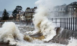 Waves breaking in Largs, Scotland, during Storm Gertrude