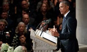 Obama speaks during John McCain's memorial service in Washington DC on 1 September.