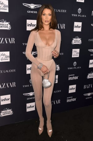 Bella Hadid in a corseted catsuit