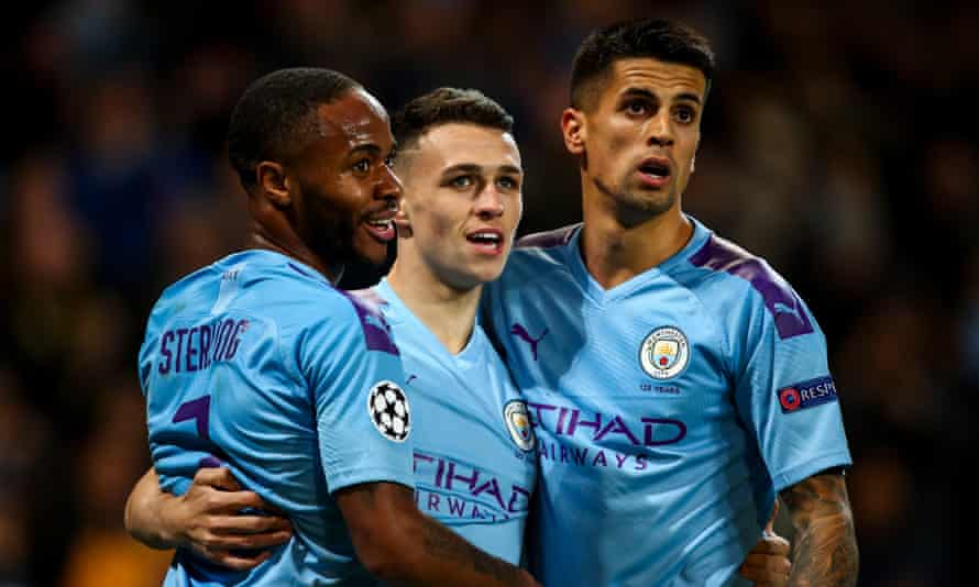Phil Foden (centre) has impressed Manchester City's fans but is yet to hold down a regular place in Pep Guardiola's first team.
