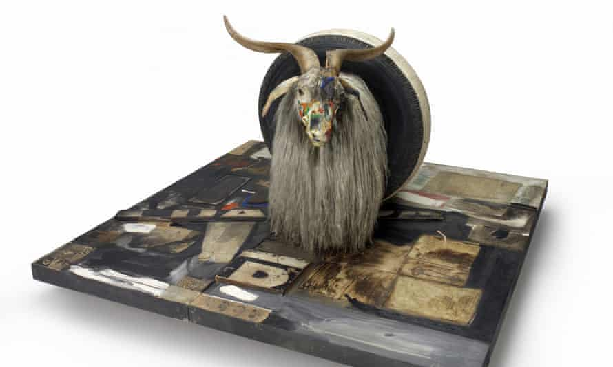Rauschenberg Monogram (1955-59). Combine featuring rubber tyre on Angora goat.