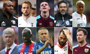 West Brom caretaker manager Darren Moore, Tottenham's Harry Kane, Declan Rice of West Ham, Huddersfield manager David Wagner, Swansea's Andre Ayew, Burnley's Ashley Barnes, Charlie Austin of Southampton , Stoke manager Paul Lambert, Crystal Palace's Mamadou Sakho and Arsenal manager Arsène Wenger