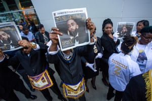 Masons attend the memorial for Nipsey Hussle in Los Angeles.