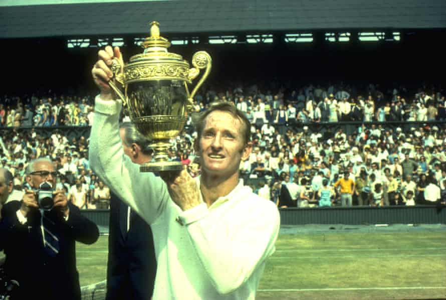 Rod Laver winning the Wimbledon title in 1969.