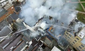 Aerial view of burning Royal Clarence hotel