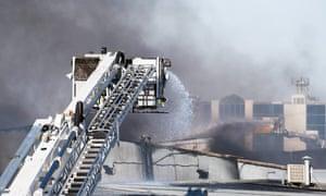 firefighters battling a blaze in Campbellfield