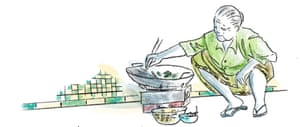 drawing of woman cooking