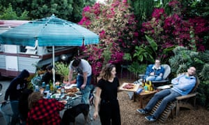 Judges gather in Charlotte Simmonds's backyard during the taste test.