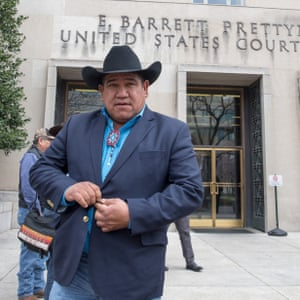 Harold Frazier, chairman Cheyenne River Sioux Tribe, leaves the US district court in Washington DC on 28 February.
