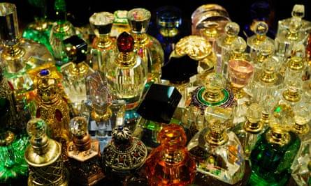 Bottles of perfume for sale.