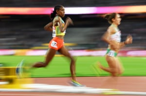 Almaz Ayana of Ethiopia about to lap a competitor in the women's 10,000m final.