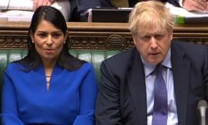 Home secretary Priti Patel sits alongside Boris Johnson during Prime Minister's Questions.