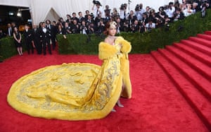 Rihanna in her omelette dress at the 2015 Met Gala in New York, 2015