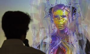 Björk appeared via live stream as a motion capture avatar from Iceland during Bjork Digital press conference