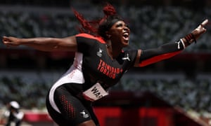 Portious Warren of Trinidad & Tobago in action during the women's shot put final.