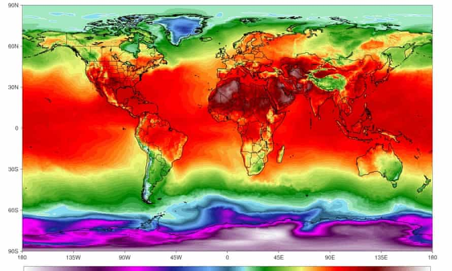 A simulation of maximum temperatures on 21 July.