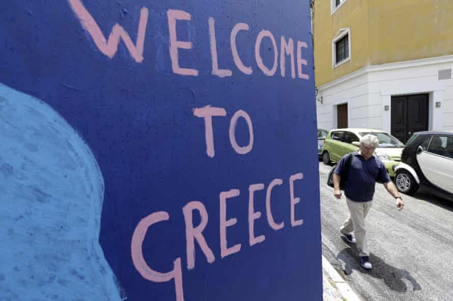 Welcome to Greece sign, Athens