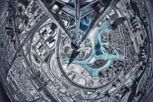 Photographer Alisdair Miller spent two hours climbing the world's tallest building, the 829.8-metre Burj Khalifa, to capture this spectacular picture from its steel pinnacle.