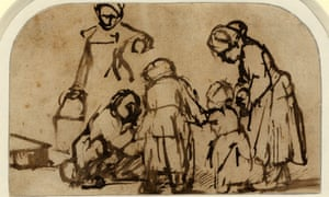 Rembrandt's A Child Being Taught to Walk (c1656). Photograph: The Trustees of the British Museum