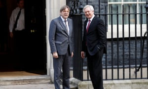 Guy Verhofstadt, the European Union's lead Brexit spokesman, and David Davis, the Brexit secretary (right), arriving at Number 10 for talks this morning.