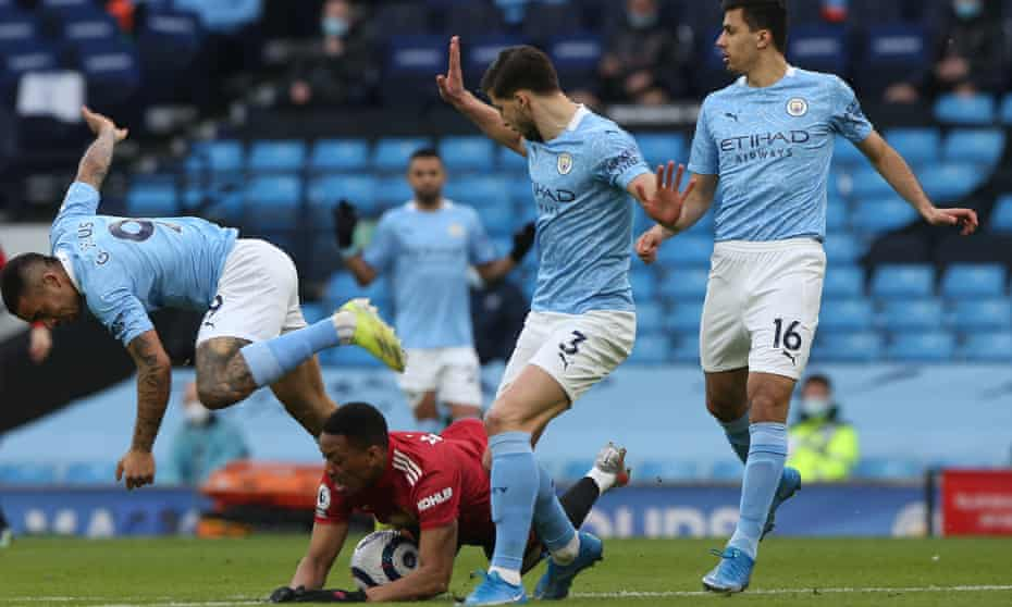 Early panic in the Manchester City area resulted in Gabriel Jesus felling Anthony Martial to concede a penalty.