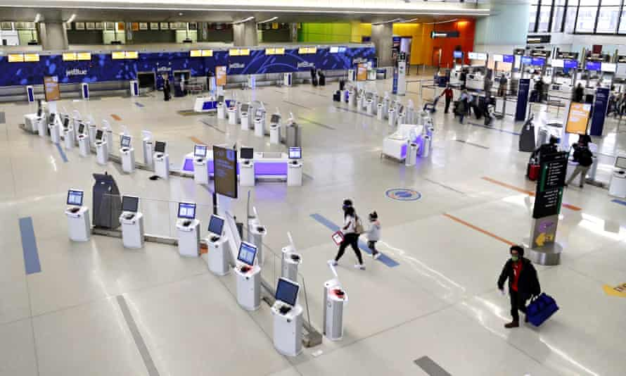 JetBlue terminal at Logan Airport, on 20 November in Boston. Dr Anthony Fauci said on Sunday the country was in 'a very, very difficult situation at all levels'.